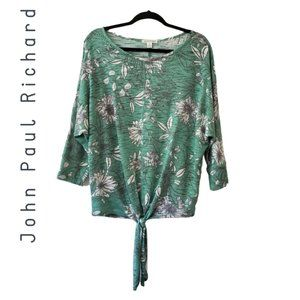 John Paul Richard Green floral knit top large